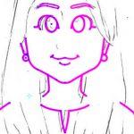 日本マウント様長髪の女性の似顔絵 左右反転後の様子