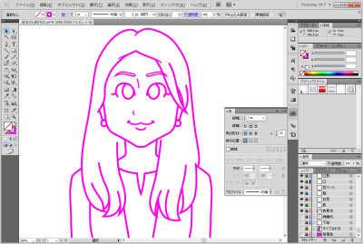 日本マウント様長髪の女性の似顔絵 線画完成