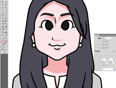 日本マウント様長髪の女性の似顔絵 色を塗る
