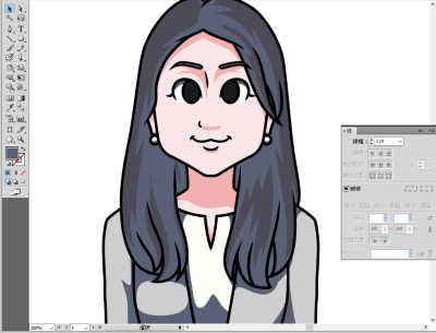 日本マウント様長髪の女性の似顔絵 影をつける