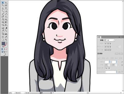 日本マウント様長髪の女性の似顔絵 影の色を調整