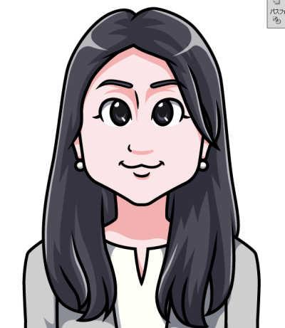 日本マウント様長髪の女性の似顔絵 光の色を調整