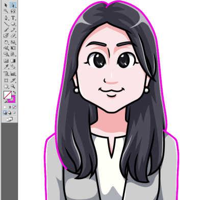 日本マウント様長髪の女性の似顔絵 太くしたい外側の線残します