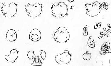 鳥イラスト下絵