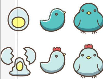 鳥イラスト光をつける