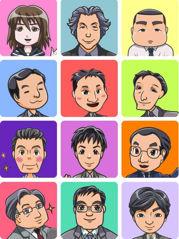 小泉純一郎の似顔絵、自画像、不動産会社の似顔絵