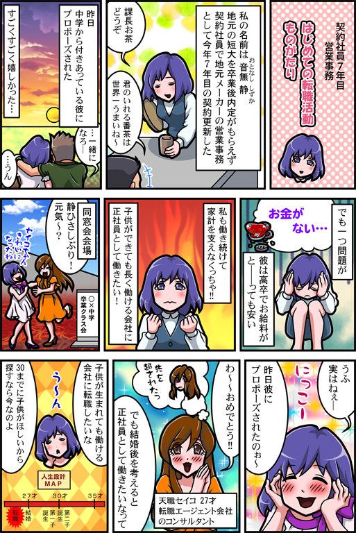 女性の転職漫画01
