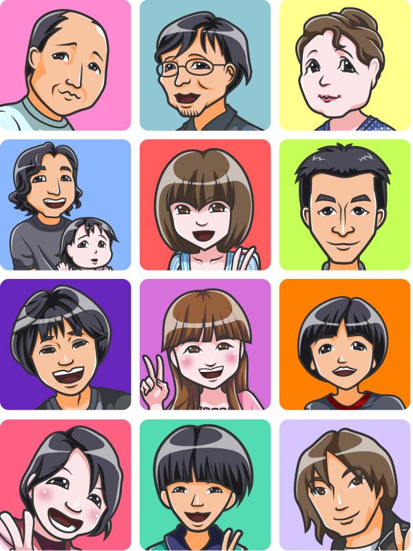 不動産会社日本マウント社の似顔絵 子供の似顔絵