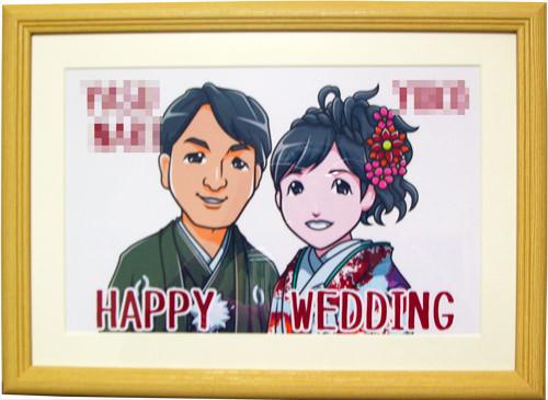 和装のカップル似顔絵ウエルカムボード
